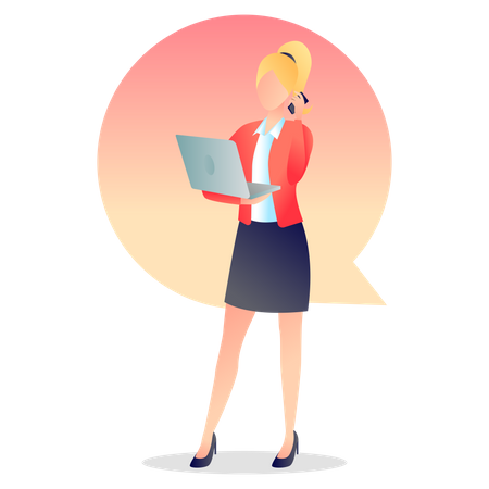 Woman Calling on Mobile holding laptop Illustration