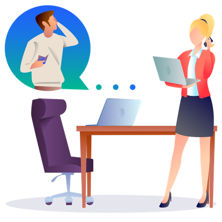 Woman calling with man Illustration