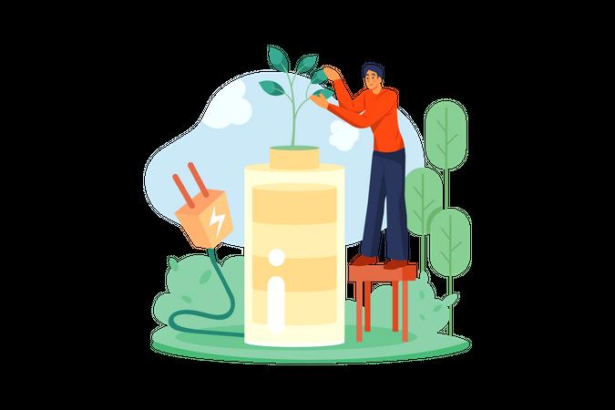 Woman caring plant Illustration