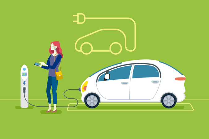 Woman Charging an electric car in a charging station Illustration
