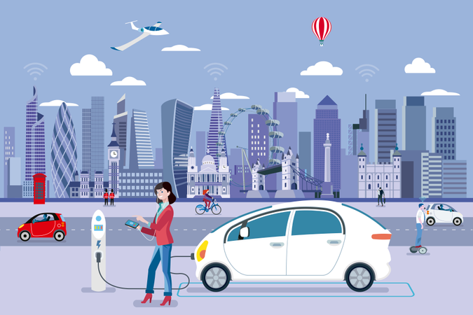 Woman Charging an electric car in a London street with people walking and the City Skyline at the background Illustration