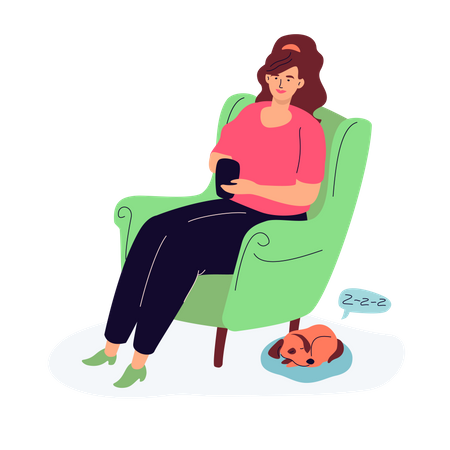 Woman chatting with friends Illustration