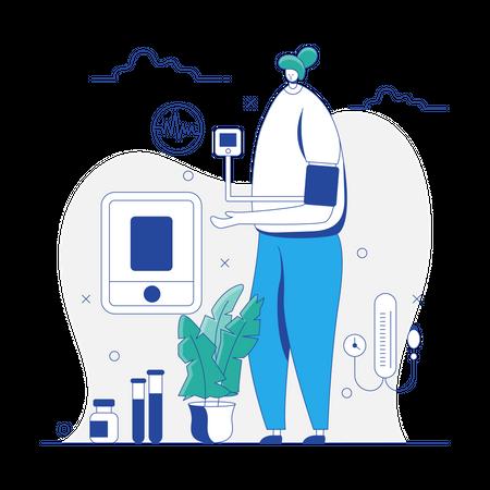 Woman checking Blood Pressure Illustration