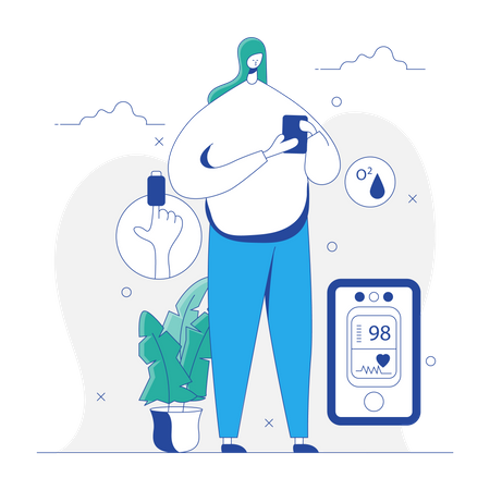 Woman Checking Pulse with Pulse Oximeter Illustration