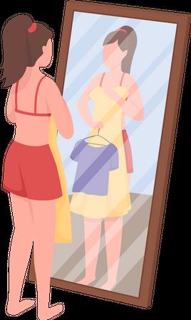 Woman choosing clothes Illustration