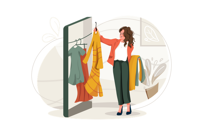 Woman choosing clothes in online shop Illustration