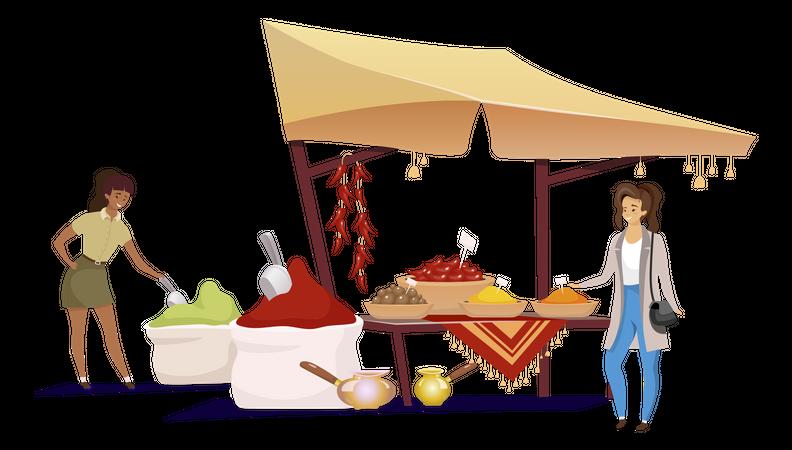 Woman choosing spices Illustration