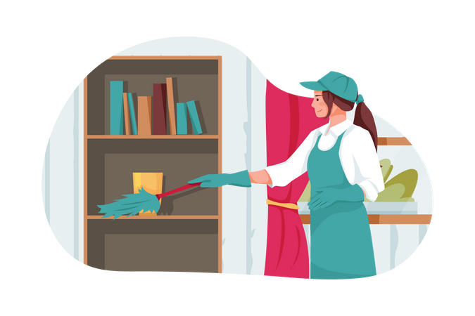 Woman cleaning cupboard Illustration