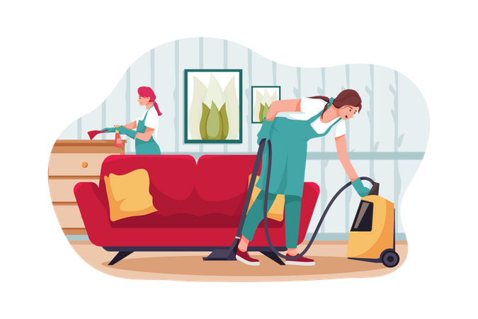 Woman cleaning house Illustration