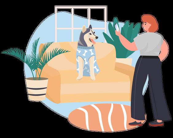 Woman clicking photo of dog Illustration