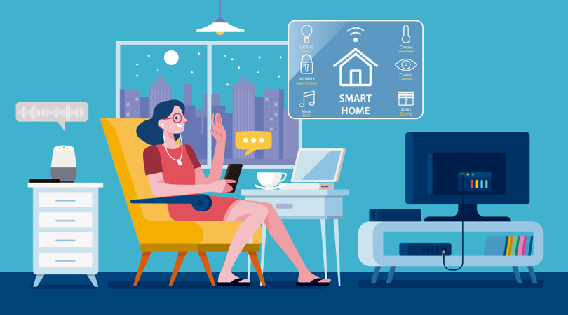 Woman controlled a Modern Smart Home by a smartphone Illustration