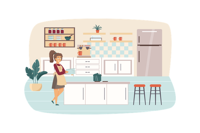 Woman cooking in kitchen scene. Housewife holds dishes, pan is on stove, preparing breakfast or lunch. Household and daily routine concept. Vector illustration of people characters in flat design Illustration