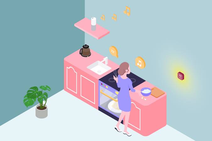 Woman cooking in smart kitchen while listening music Illustration