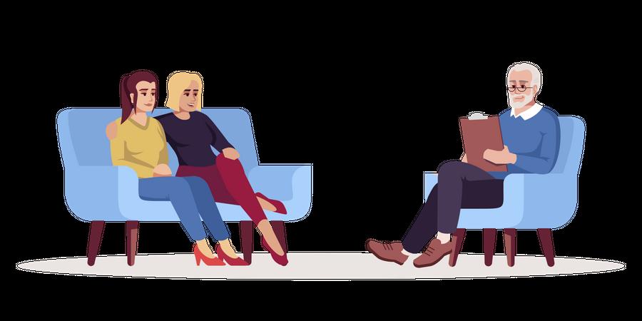 Woman couple meets specialist Illustration