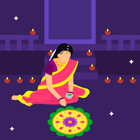 Woman Creating Rangoli In Diwali Illustration