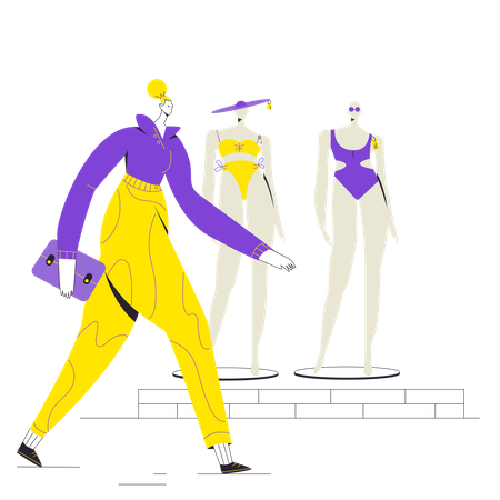 Woman Customer arriving at store Illustration
