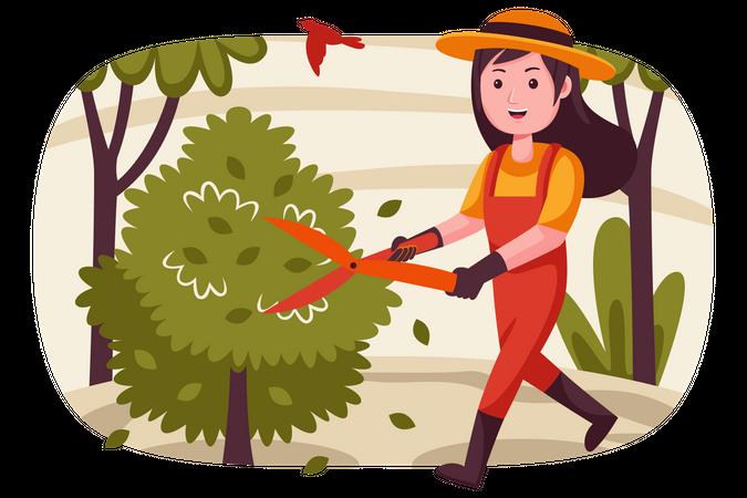 Woman cutting tree with big scissor Illustration