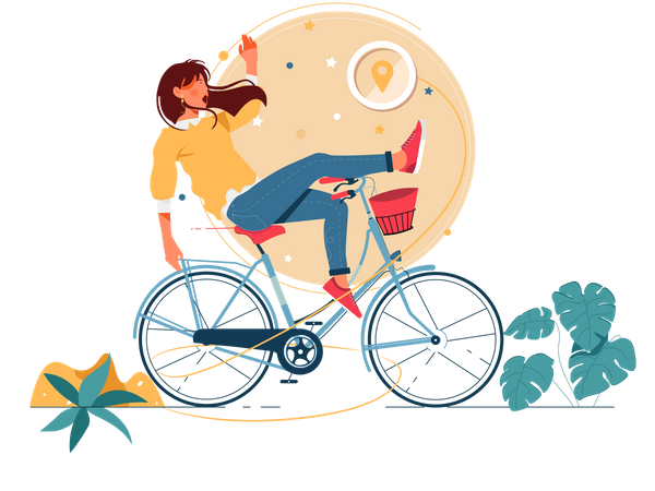 Woman cycling with Shipping Address Illustration
