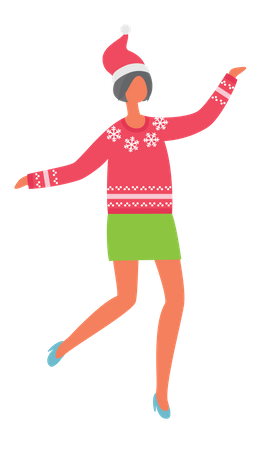 Woman dancing in Christmas party Illustration