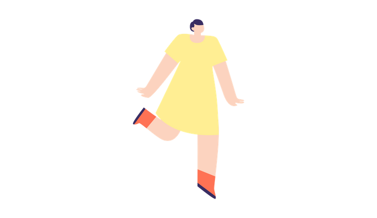 Woman dancing In party Illustration