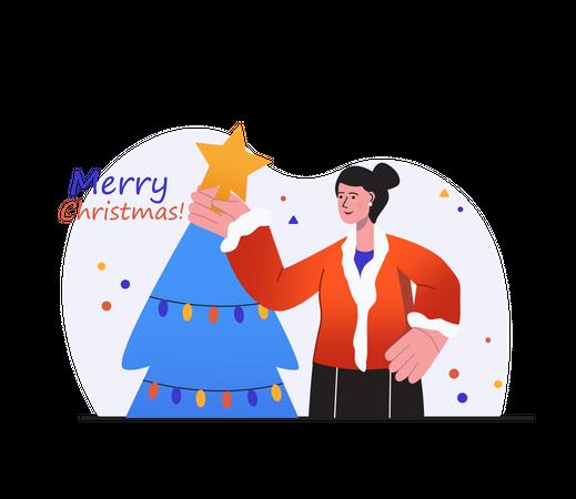 Woman decorating Christmas tree Illustration