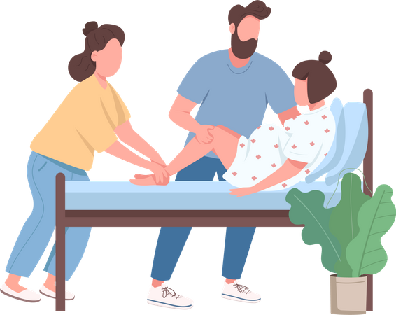 Woman deliver baby Illustration