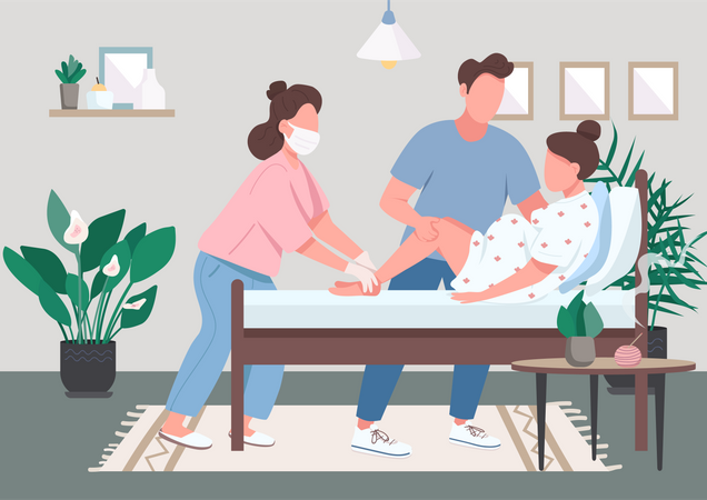 Woman delivering baby Illustration