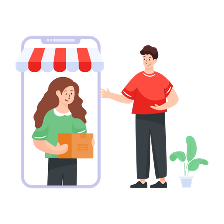 Woman delivering through smartphone Illustration