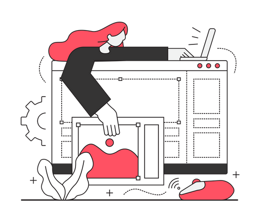 Woman design layout website Illustration