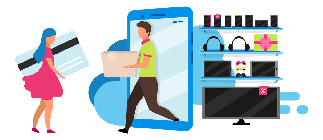 Woman doing card payment Illustration