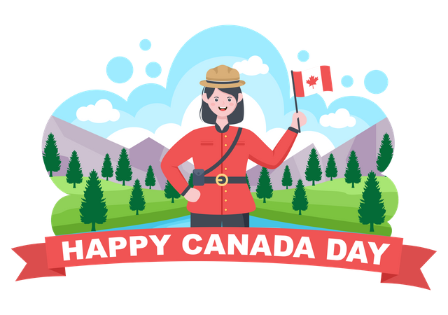 Woman doing celebration of Canada Day Illustration