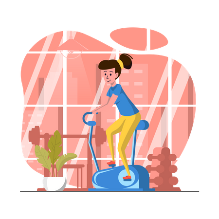 Woman doing cycling in gym Illustration