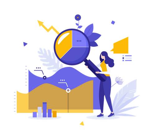 Woman doing data Analysis Illustration