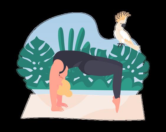 Woman doing dwi pada viparita dandasana yoga Illustration