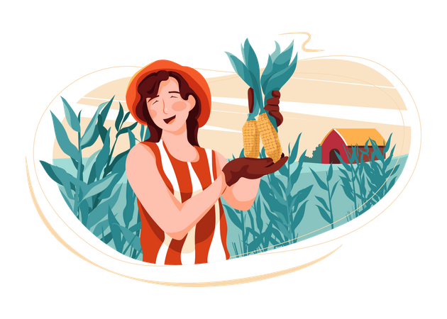 Woman doing farming Illustration