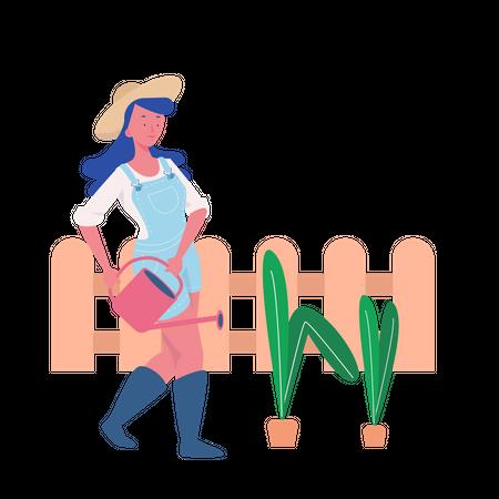 Woman doing Gardening Illustration