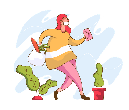 Woman doing grocery shopping Illustration
