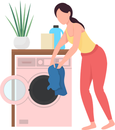 Woman doing laundry Illustration