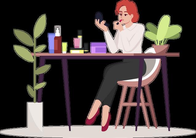 Woman doing makeup Illustration
