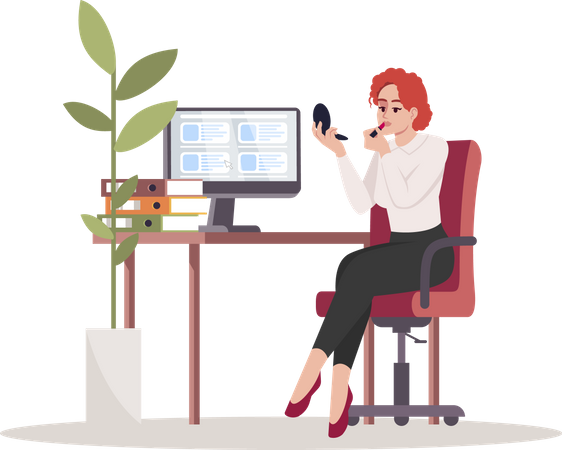 Woman doing makeup at office Illustration