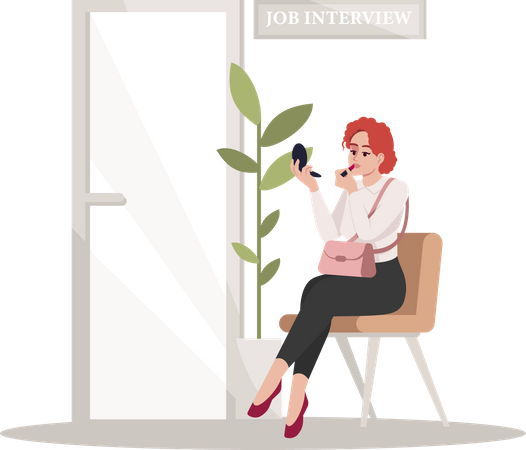 Woman doing makeup before job interview Illustration