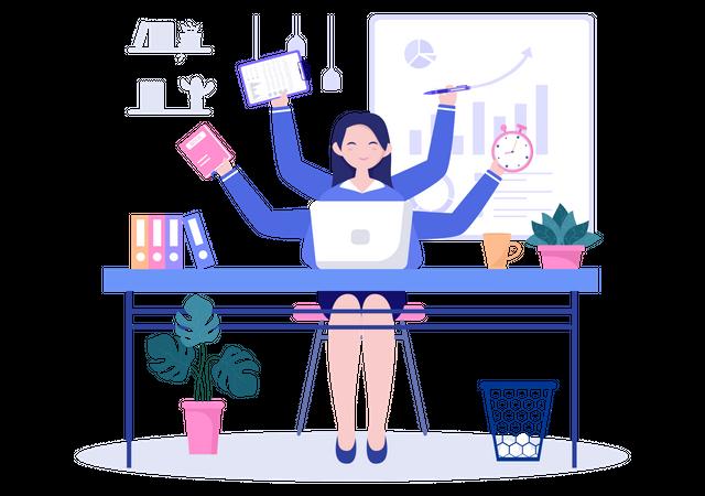 Woman Doing Multitasking Illustration