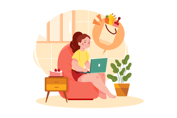 Woman Doing Online Grocery Shopping Illustration