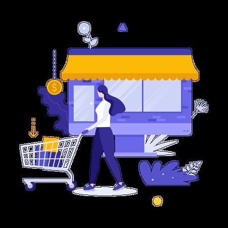 Woman doing online shopping Illustration