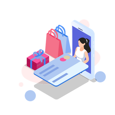 Woman doing payment by credit card Illustration