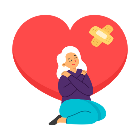 Woman doing self caring in quarantine period Illustration