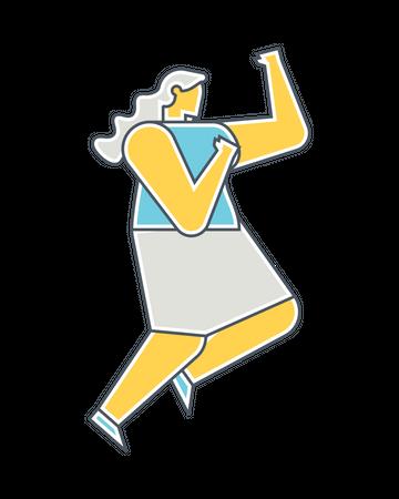 Woman doing self defense Illustration