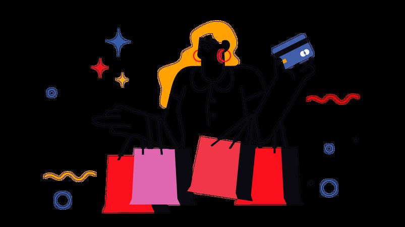 Woman doing shopping Illustration