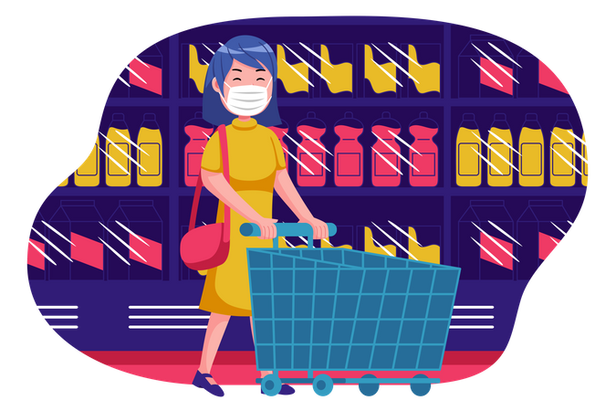 Woman doing shopping from store Illustration