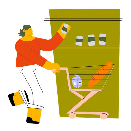 Woman doing shopping in mall Illustration
